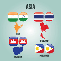 Asian Countries, India, Thailand, Cambodia, Philippines, flags