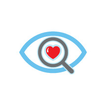 magnifying glass over an eye with a heart