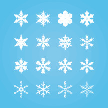 Snowflakes shapes vector pack.