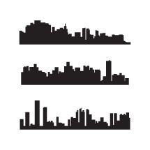 silhouettes of cityscapes