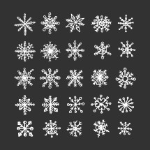 Hand-drawn snowflakes. Snow and winter illustrations.