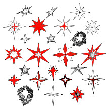 Hand drawn Christmas stars and Bethlehem star for winter and holiday illustrations.