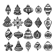 Christmas tree toys and balls drawn by hand for winter and holiday illustrations.