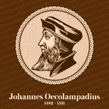 Johannes Oecolampadius (1482 – 1531) was a German Protestant reformer in the Reformed tradition from the Electoral Palatinate. He was the leader of the Protestant faction in the Baden Disputation of 1526, and he was one of the founders of Protestant theology. Christian figure.