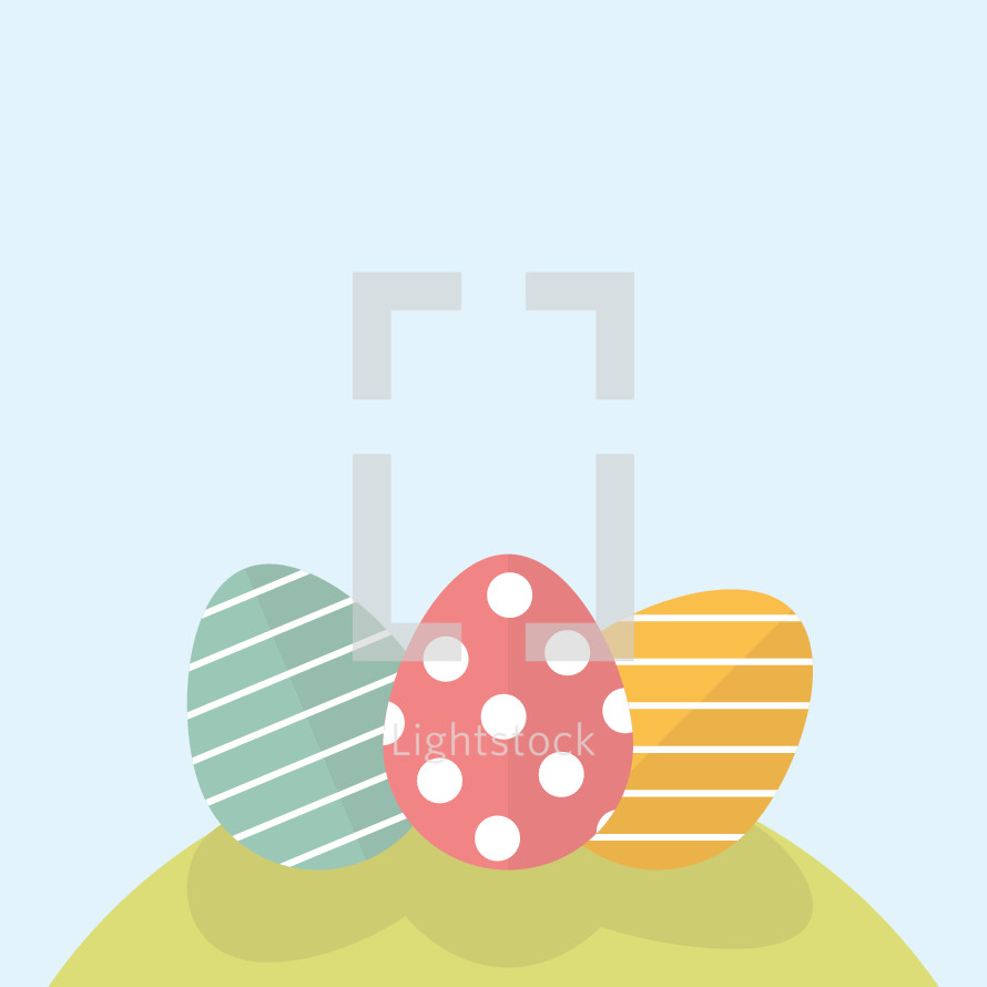 Easter eggs on a hill.