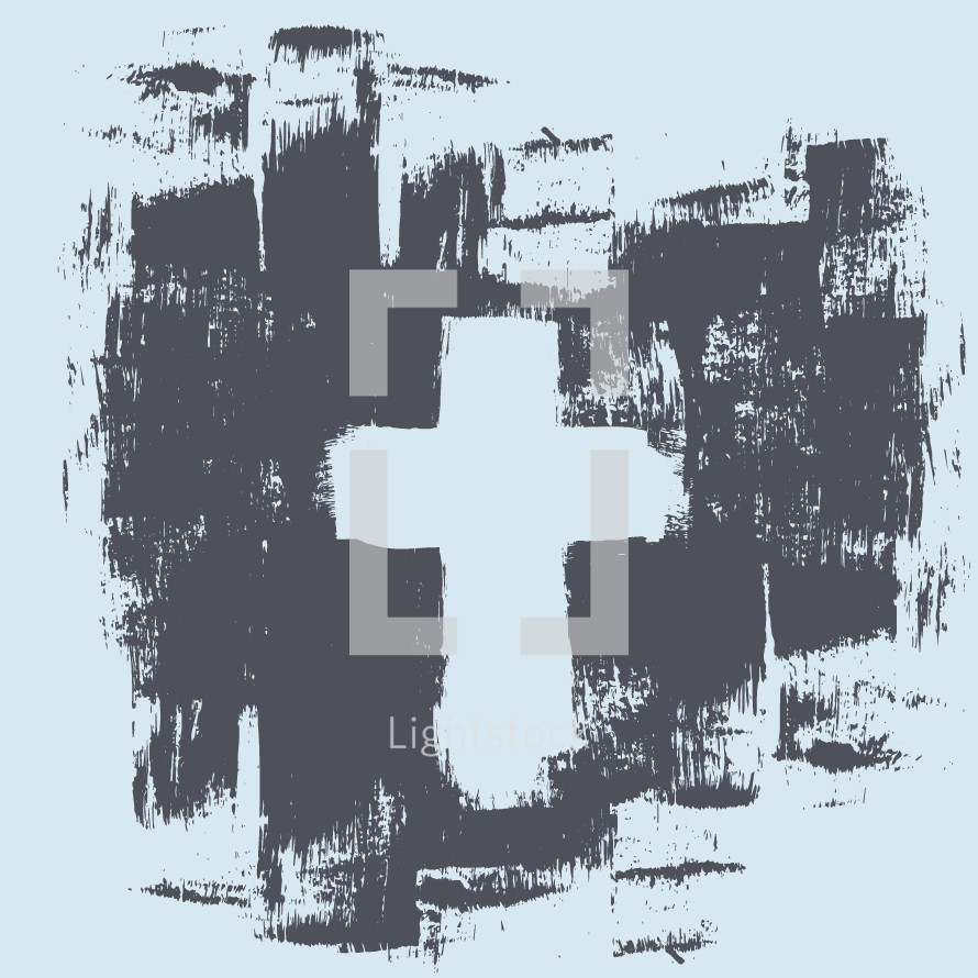 Painted grunge cross background.