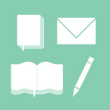 Bible, pencil, pen, envelope, icon, book