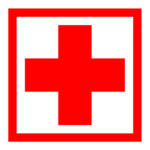 First Aid Symbol or The Red Cross symbol. Red medical sign in square frame on white background is created in trendy flat style. The graphic element for design saved as a vector illustration in the EPS file format.