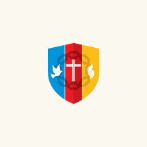 shield, dove, crown of thorns, red, blue, yellow, flames, icon