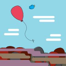 balloon, bird, helium balloon, sky, clouds, floating away