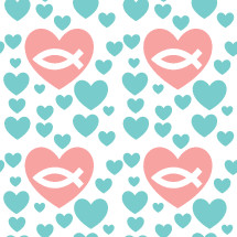 Jesus fish in hearts pattern background