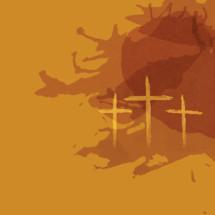 three crosses on golden brown