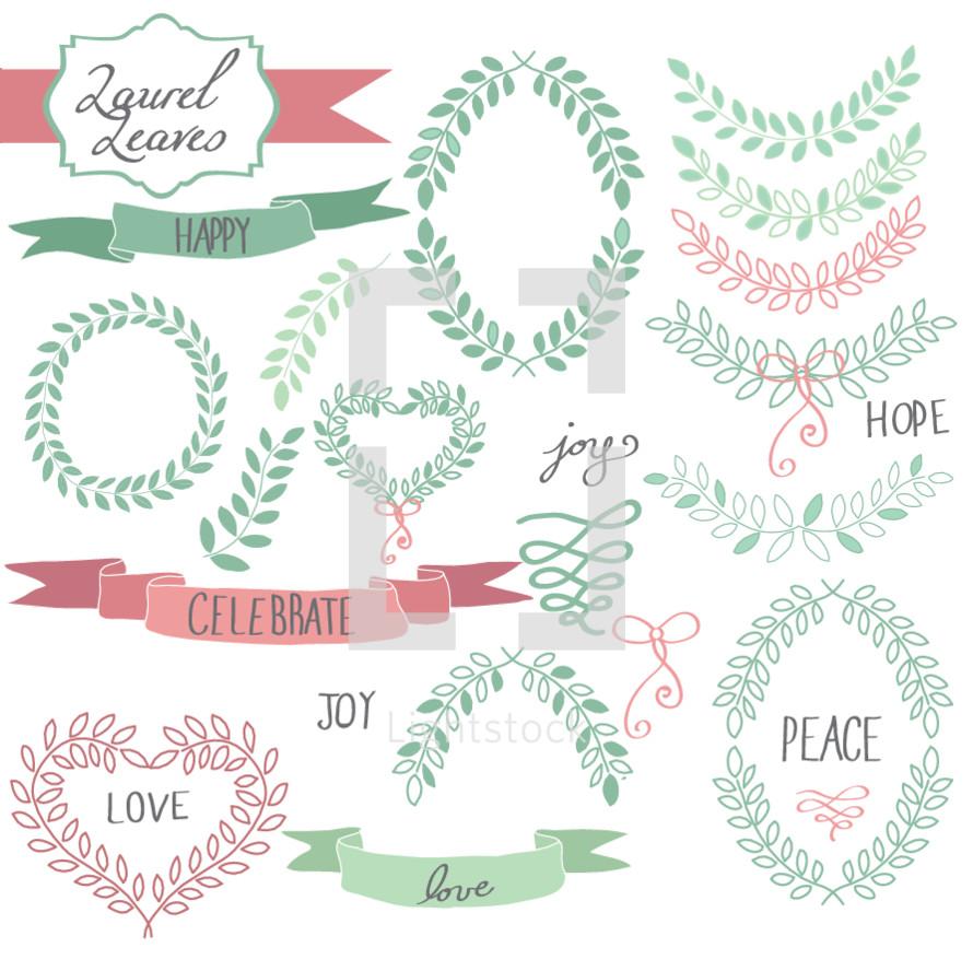 laurel leaves, leaves, love, script, framing, joy, peace, twigs, sprigs, spring, celebrate, hope, happy, wreath, banner