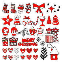 Hand-drawn Christmas toys, elements and decorations for winter and holiday illustrations.