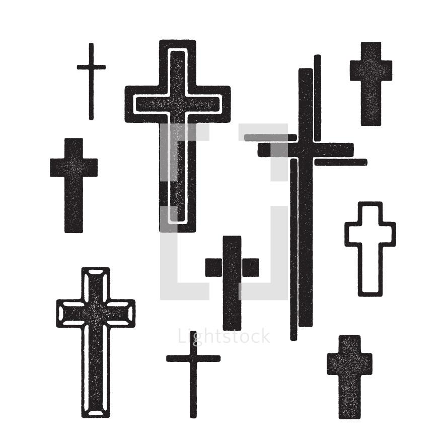 set of grunge cross illustrations.