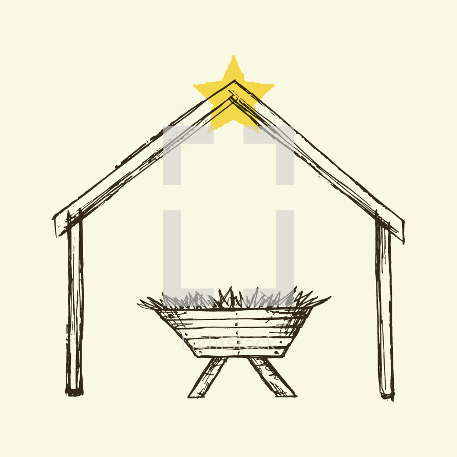 A drawing of the manger and star