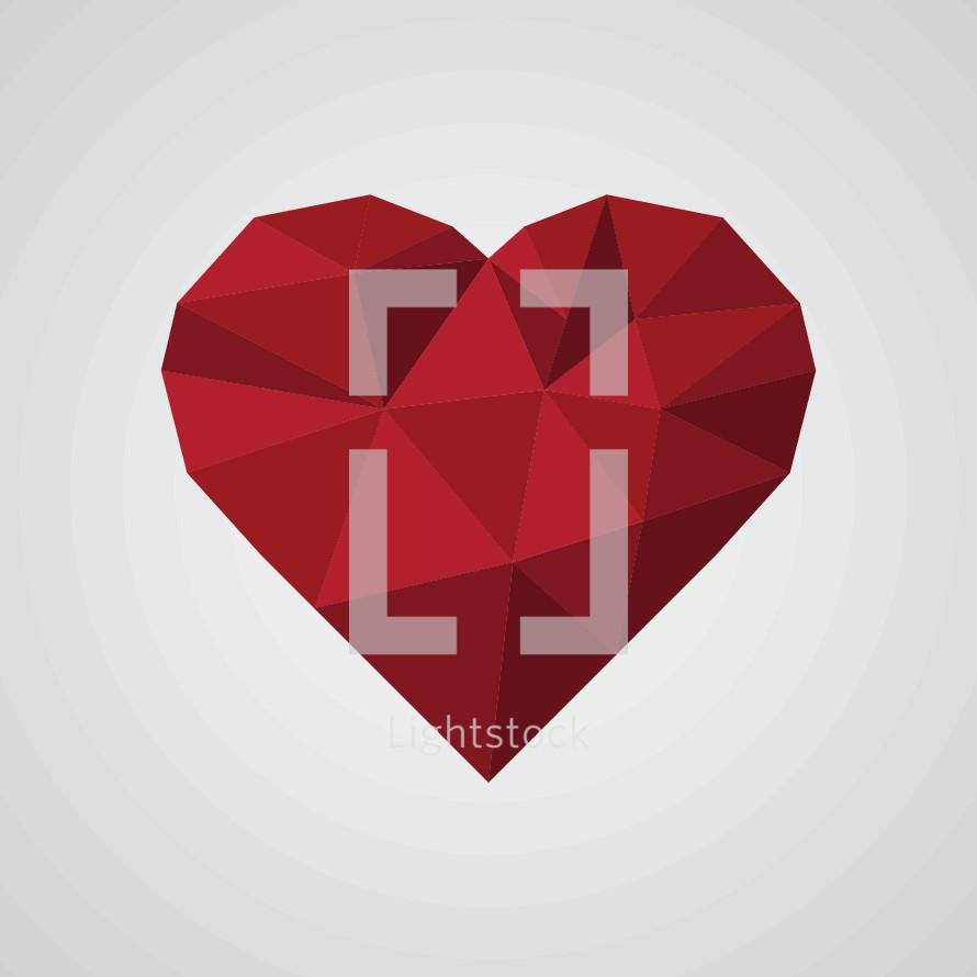 geometric red heart illustration.