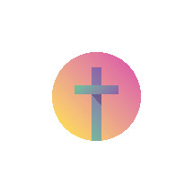 modern Easter cross in badge form