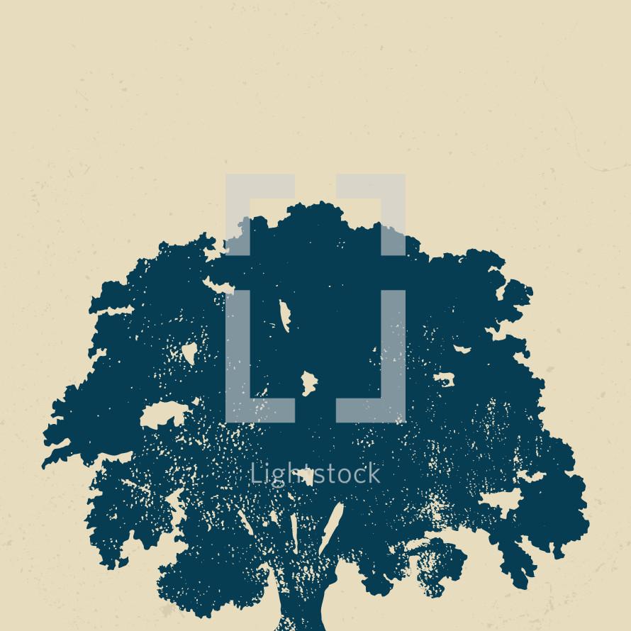 Grunge vector oak tree.