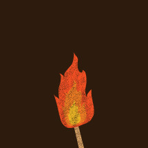 grunge illustration of a small flame.
