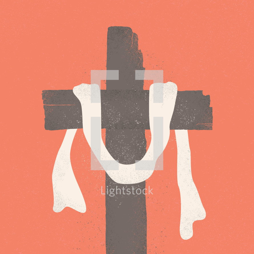 white shroud on a cross.