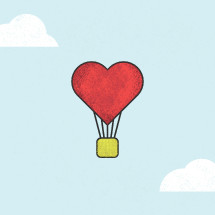 heart hot hair balloon illustration.