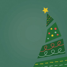 hand drawn Christmas tree illustration.