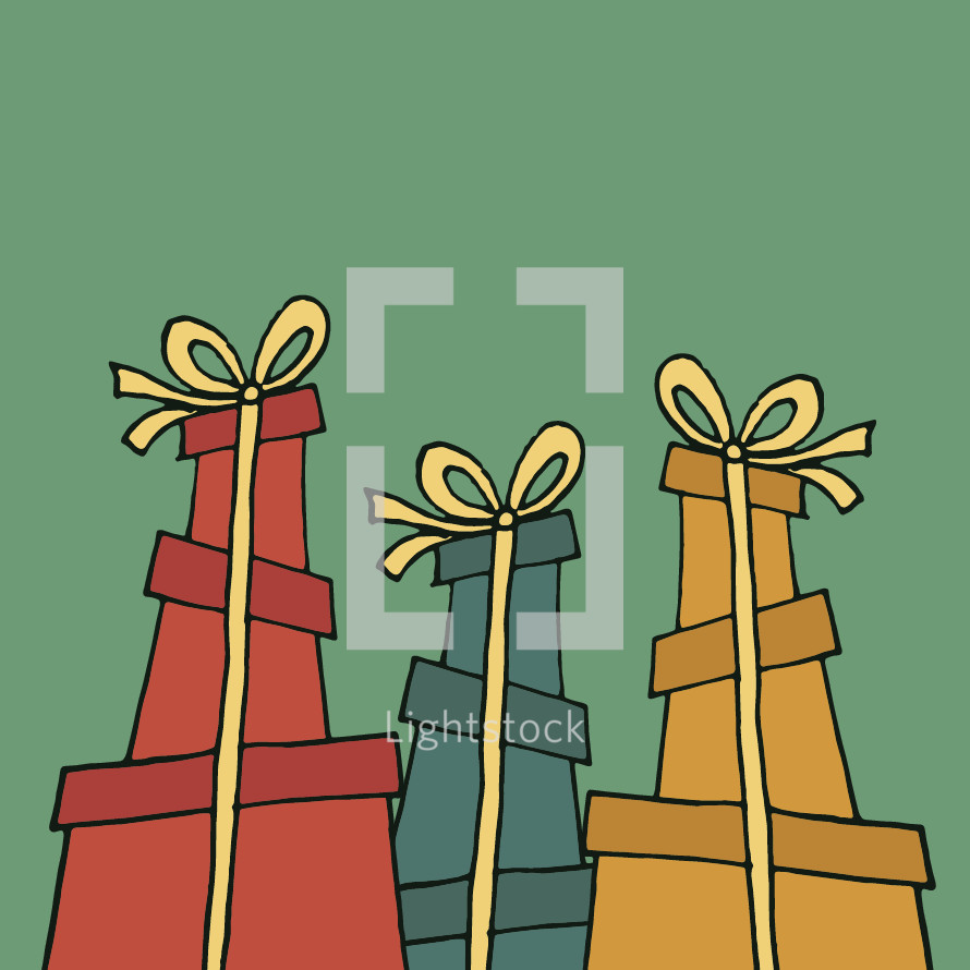 wrapped stacked gifts
