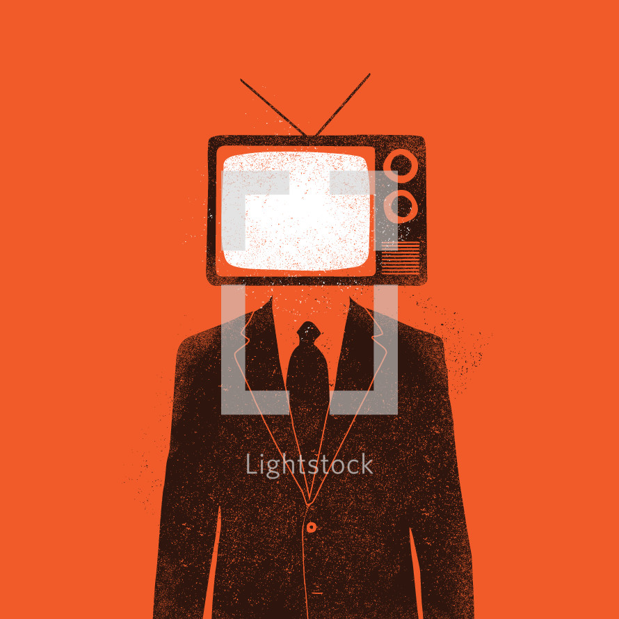 Television addiction concept.