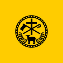Christian symbols. The cross of Jesus Christ, the sacrificial lamb and the shepherds staff.