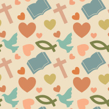 Christian symbols pattern background