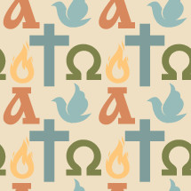 alpha and omega, flame, dove, cross, pattern background
