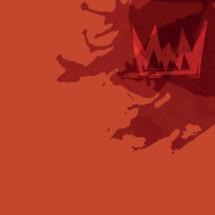 crown on red orange background