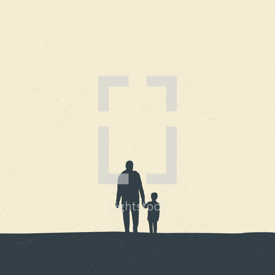 silhouette of father and son holding hands.
