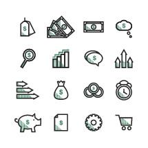 Money icons set.