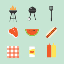 grilling, grill, cookout, bbq, barbecue, mustard, ketchup, soda, watermelon, food, summer, icon, spatula, flames, steak, meat