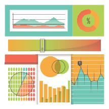 charts, graphs, icons, bar graph, pie chart, %
