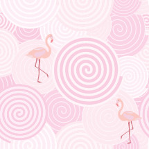 pink spiral pattern with flamingos
