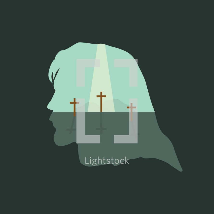 Silhouette of Jesus with three crosses and a beam of light shining from heaven.