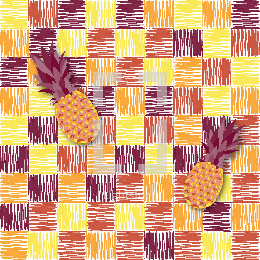 pineapples on checkered pattern
