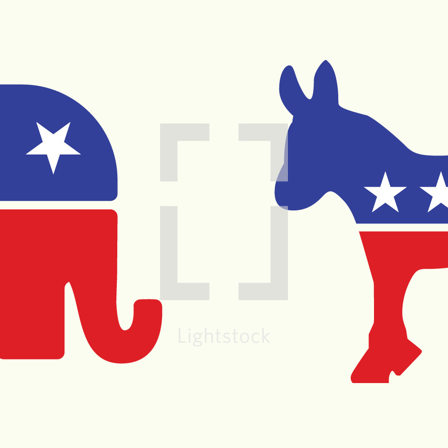 donkey, red, white, blue, elephant, democrats, republicans, icon, politics, politicians, election day, voting