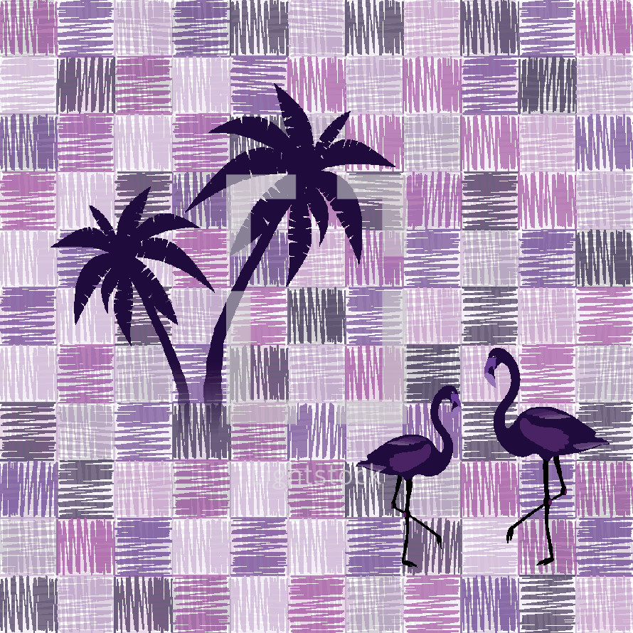 palm trees and flamingo on scribble pattern