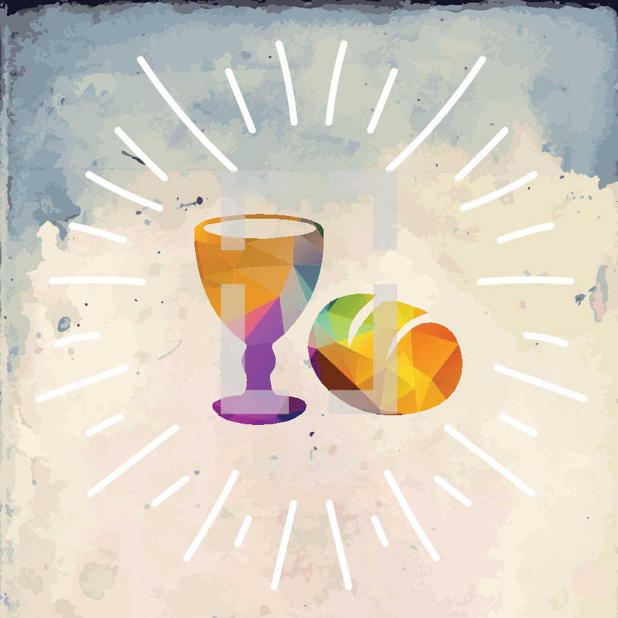 radiating communion chalice and bread loaf