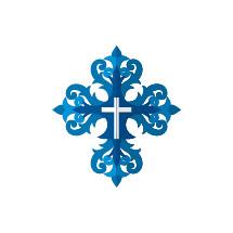 ornate blue cross icon