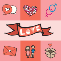 love, Valentines, Valentines day, icons, couple, man, woman, envelope, letter, love letter, hearts, box, love, banner, marriage, thought bubbles, talk bubbles, male, female, word