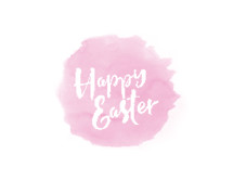 Happy Easter on a pink splotch