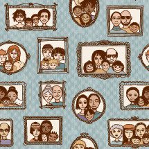framed photographs on a wall