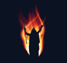 Prophet silhouette with raised hands backlit with flames