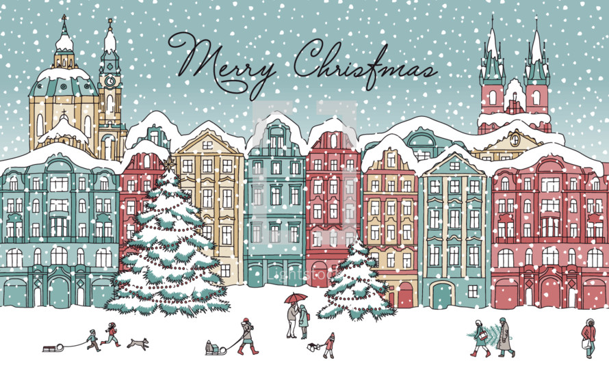 Merry Christmas with winter scene