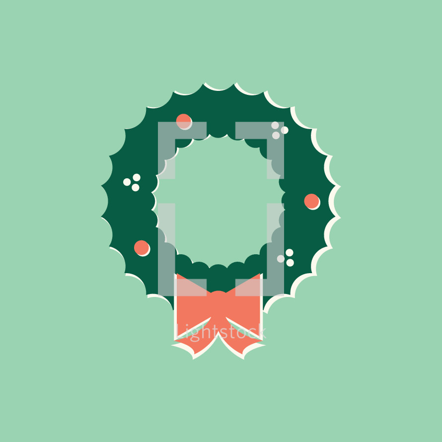 Christmas wreath illustration.